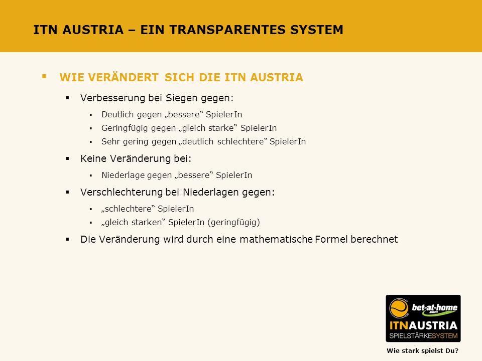 Wie stark spielst Du? ITN AUSTRIA – EIN TRANSPARENTES SYSTEM WIE VERÄNDERT SICH DIE ITN AUSTRIA Verbesserung bei Siegen gegen: Deutlich gegen bessere