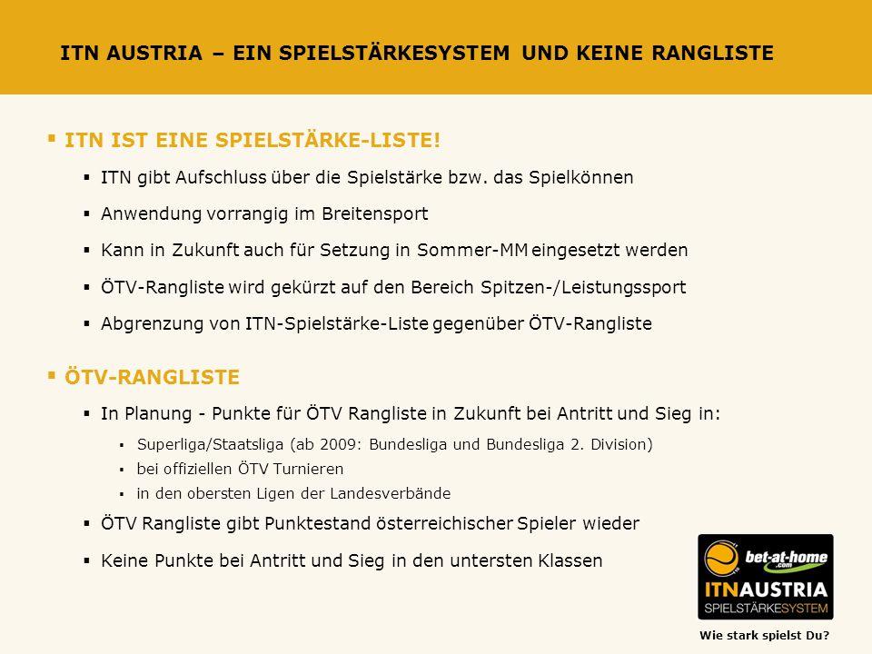 Wie stark spielst Du? ITN AUSTRIA – EIN SPIELSTÄRKESYSTEM UND KEINE RANGLISTE ITN IST EINE SPIELSTÄRKE-LISTE! ITN gibt Aufschluss über die Spielstärke