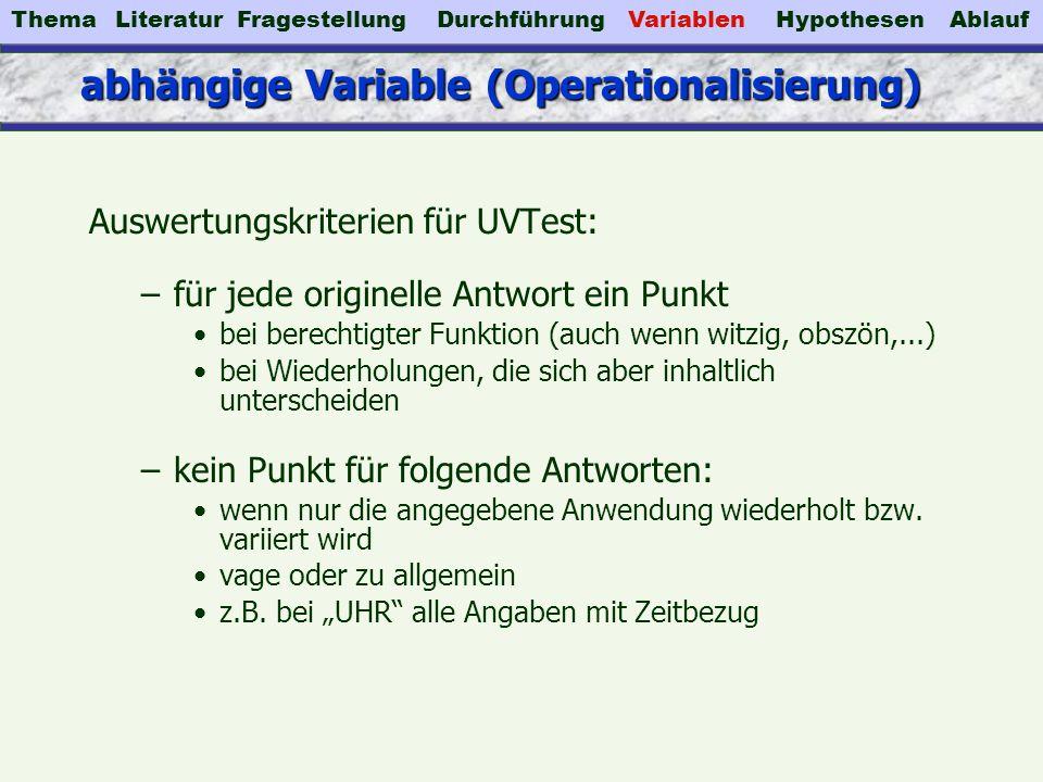 abhängige Variable (Operationalisierung) Auswertungskriterien für UVTest: –für jede originelle Antwort ein Punkt bei berechtigter Funktion (auch wenn