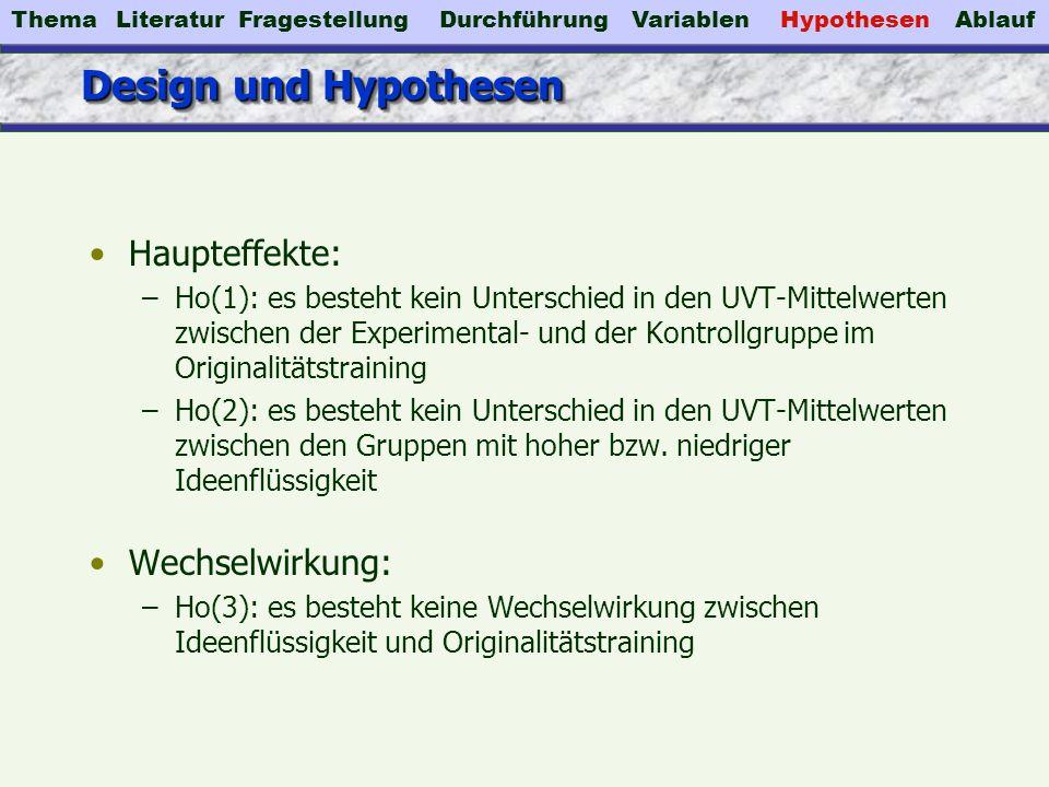 Design und Hypothesen Haupteffekte: –Ho(1): es besteht kein Unterschied in den UVT-Mittelwerten zwischen der Experimental- und der Kontrollgruppe im O