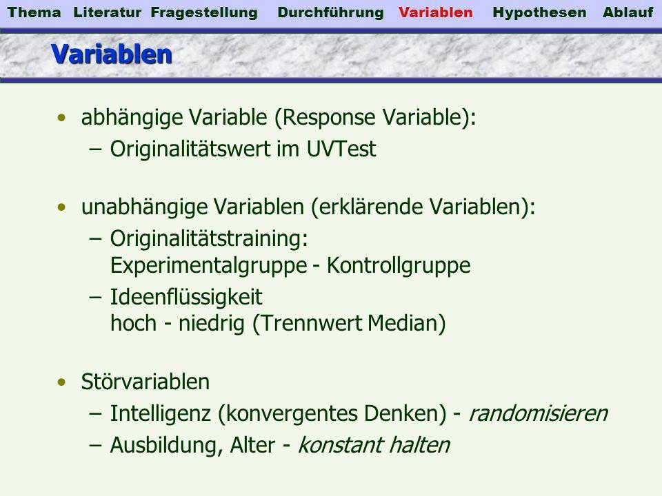 VariablenVariablen abhängige Variable (Response Variable): –Originalitätswert im UVTest unabhängige Variablen (erklärende Variablen): –Originalitätstr