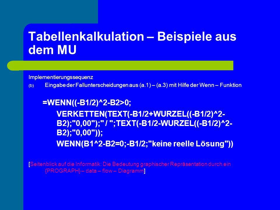 Tabellenkalkulation – Beispiele aus dem MU Implementierungssequenz (b) Eingabe der Fallunterscheidungen aus (a.1) – (a.3) mit Hilfe der Wenn – Funktio