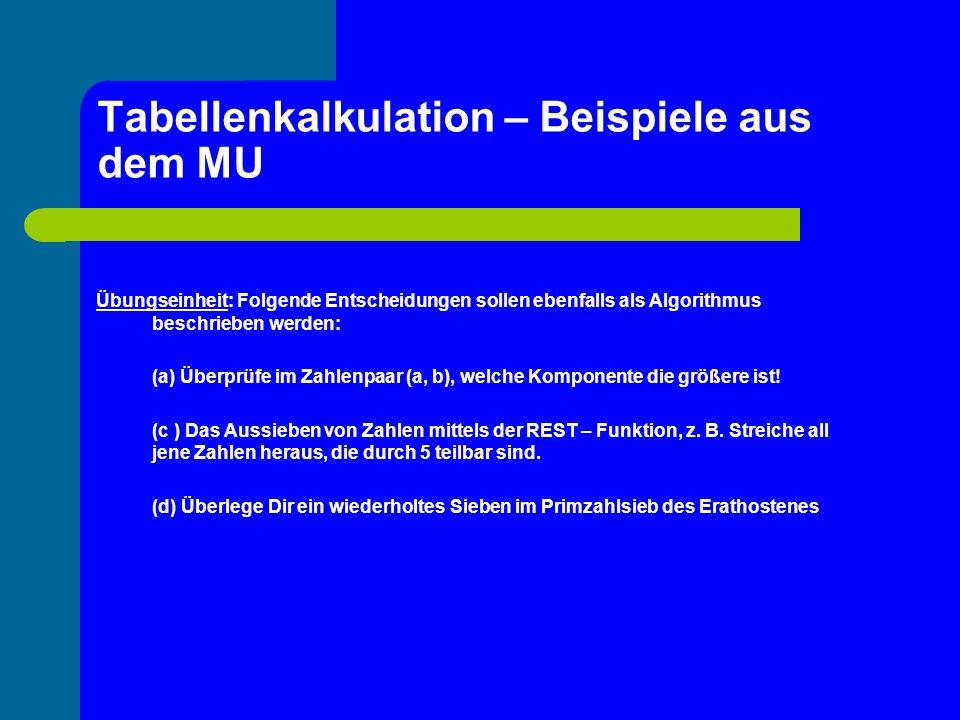 Tabellenkalkulation – Beispiele aus dem MU Übungseinheit: Folgende Entscheidungen sollen ebenfalls als Algorithmus beschrieben werden: (a) Überprüfe i