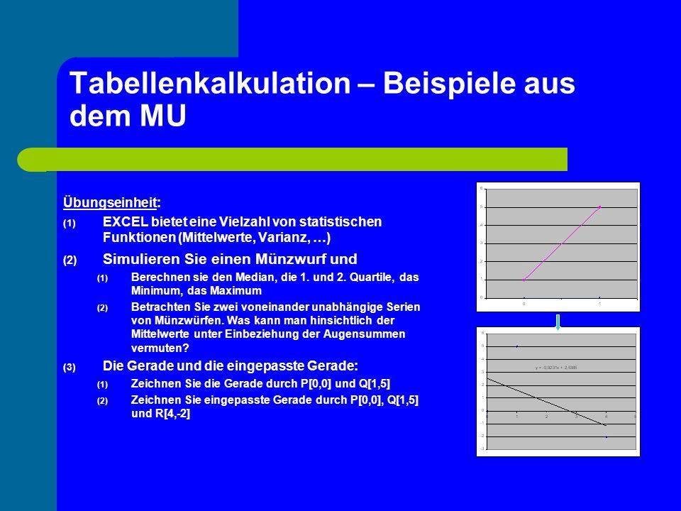 Tabellenkalkulation – Beispiele aus dem MU Übungseinheit: (1) EXCEL bietet eine Vielzahl von statistischen Funktionen (Mittelwerte, Varianz, …) (2) Si
