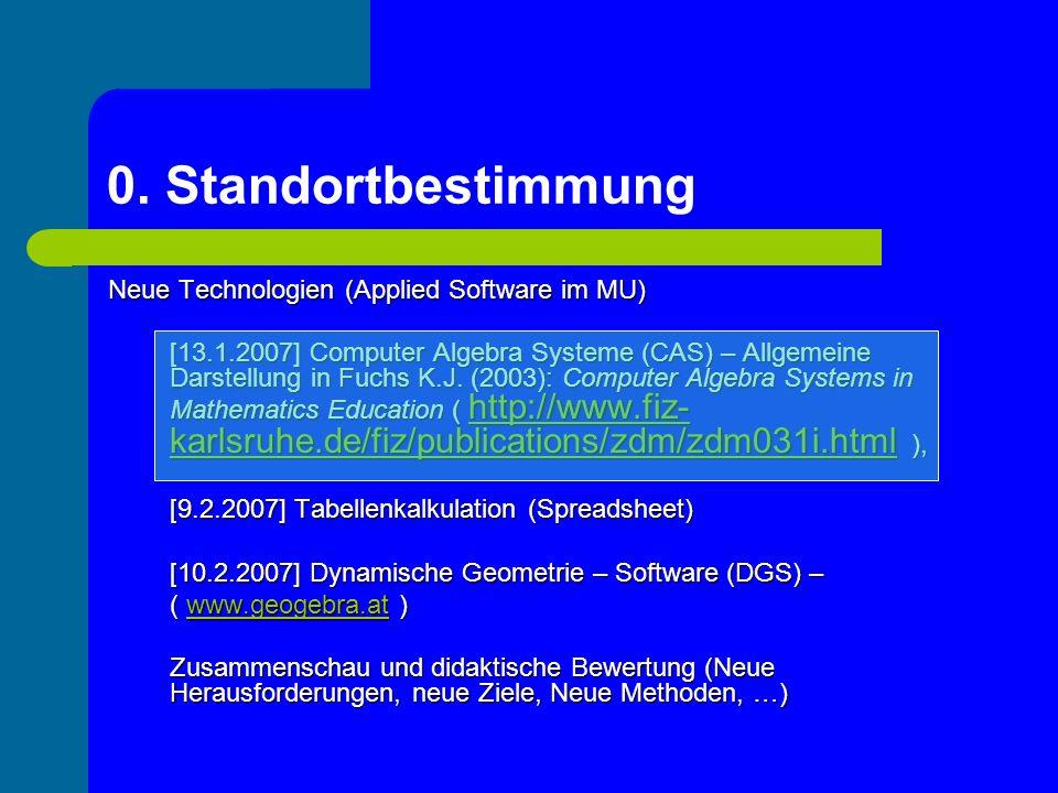 Neue Technologien (Applied Software im MU) [13.1.2007] Computer Algebra Systeme (CAS) – Allgemeine Darstellung in Fuchs K.J. (2003): Computer Algebra
