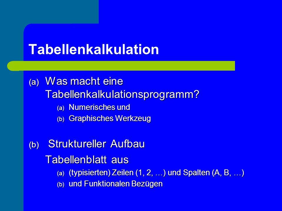Tabellenkalkulation – Beispiele aus dem MU (d) Auswerten von Daten: Beschreibenden Statistik (Untertitel: Listen / Pseudozufallszahlen) Implementierungssequenz (a) Würfelwurf: Wir simulieren der 40-maligen Wurf eines Würfels mit Hilfe von Pseudozufallszahlen (b) Zur Implementierung verwenden wir zunächst die Funktion ZUFALLSZAHL.