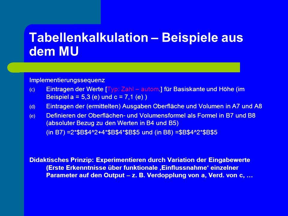 Tabellenkalkulation – Beispiele aus dem MU Übungseinheit: Implementierung der Volumsformel für den geraden Kreiszylinder mit anschließender Variation der Eingabewerte (Parameter) r und h (b) Formeln als Funktionen (Untertitel: Arbeiten mit relativen BEZÜGEN, Funktionale Abhängigkeiten)