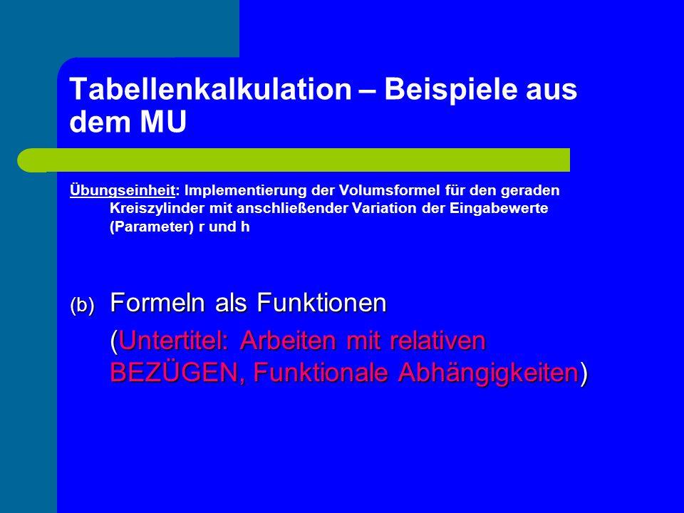 Tabellenkalkulation – Beispiele aus dem MU Übungseinheit: Implementierung der Volumsformel für den geraden Kreiszylinder mit anschließender Variation