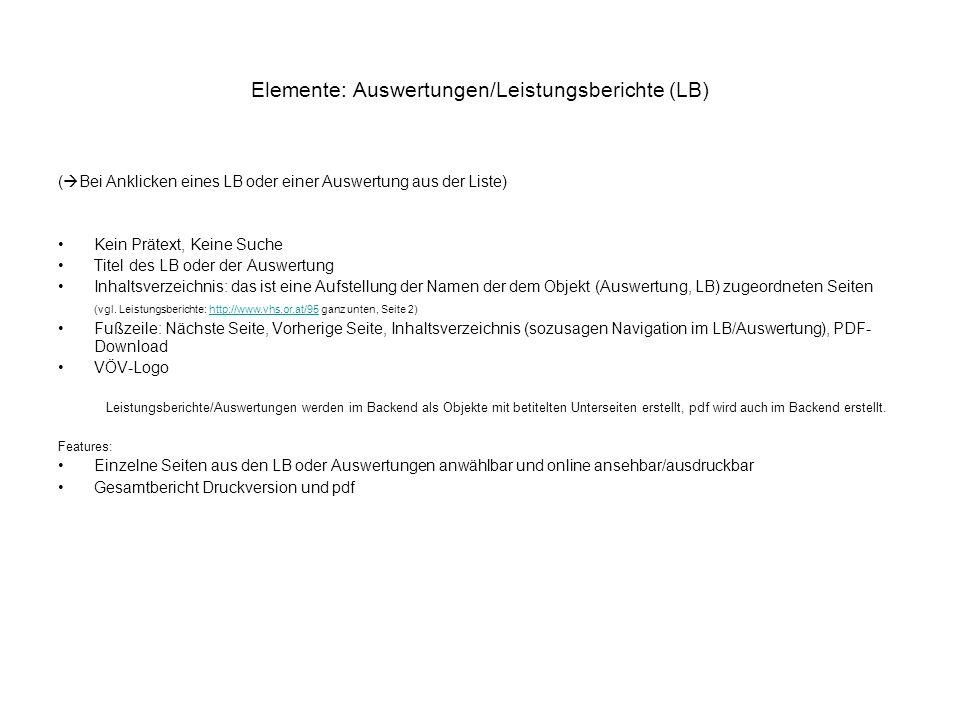 Elemente: Auswertungen/Leistungsberichte (LB) ( Bei Anklicken eines LB oder einer Auswertung aus der Liste) Kein Prätext, Keine Suche Titel des LB ode