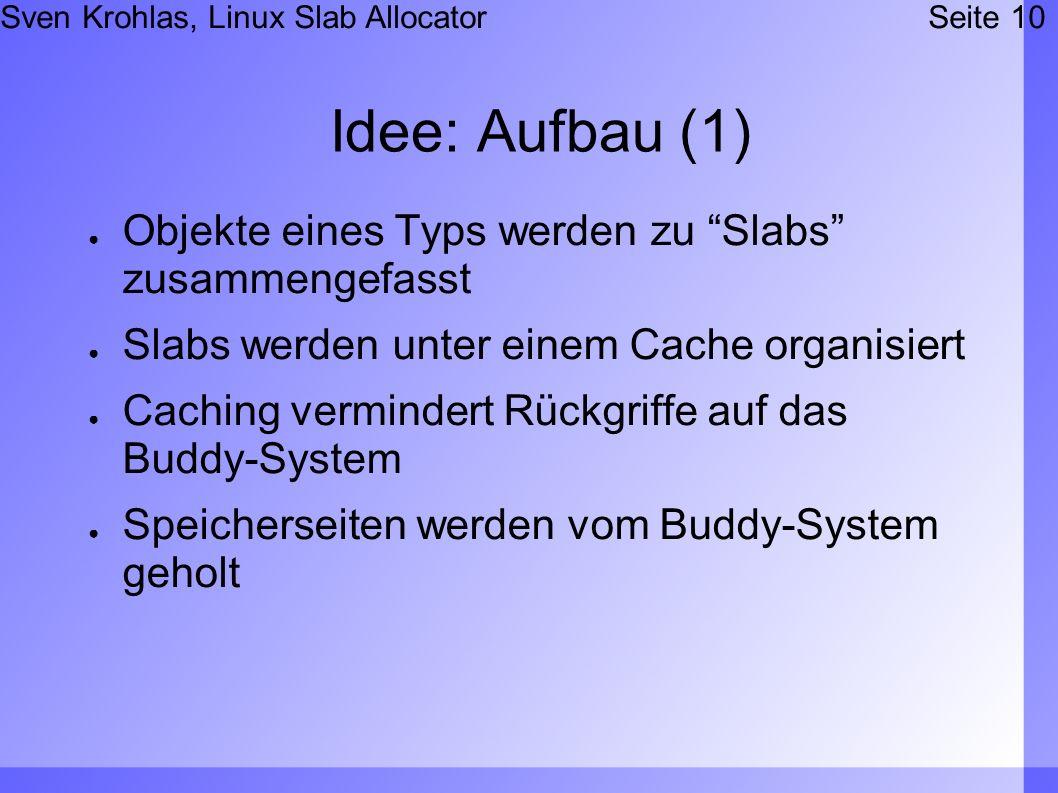 Sven Krohlas, Linux Slab AllocatorSeite 10 Idee: Aufbau (1) Objekte eines Typs werden zu Slabs zusammengefasst Slabs werden unter einem Cache organisiert Caching vermindert Rückgriffe auf das Buddy-System Speicherseiten werden vom Buddy-System geholt