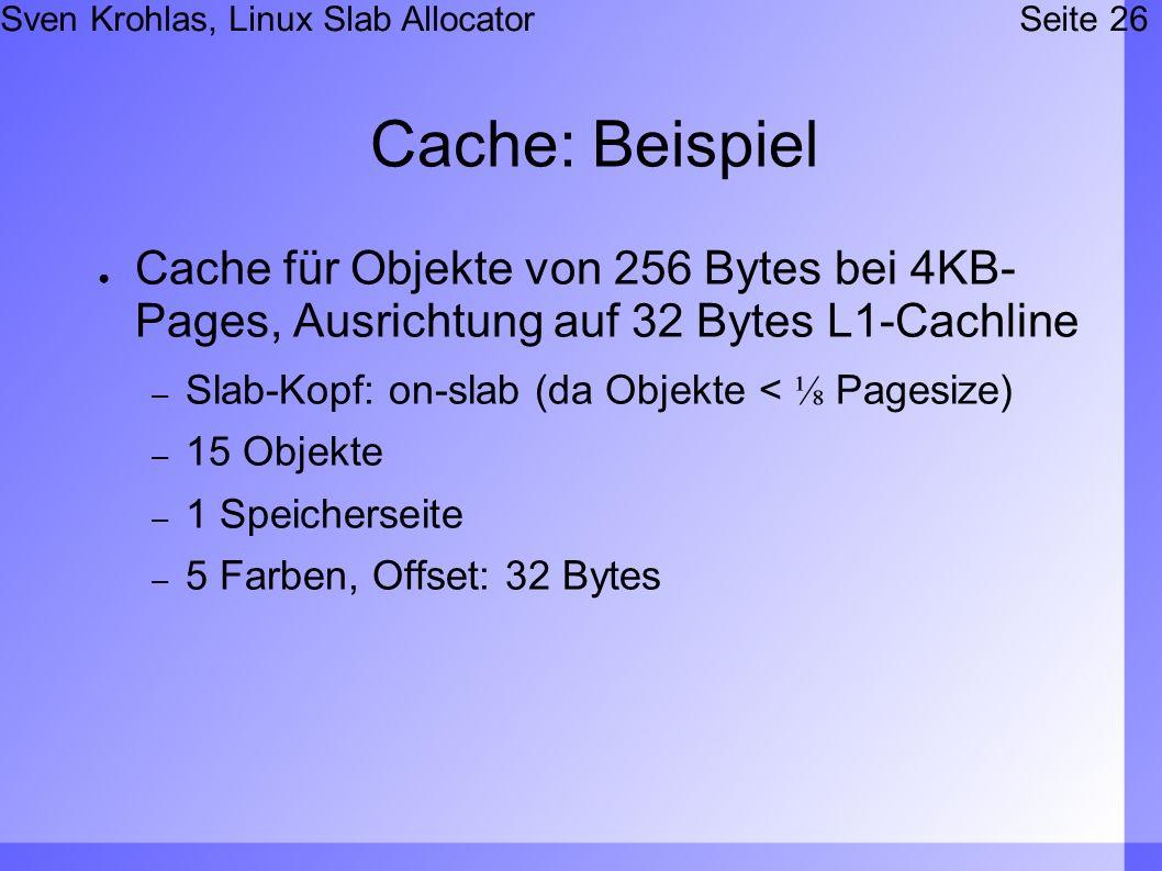 Sven Krohlas, Linux Slab AllocatorSeite 26 Cache: Beispiel Cache für Objekte von 256 Bytes bei 4KB- Pages, Ausrichtung auf 32 Bytes L1-Cachline – Slab