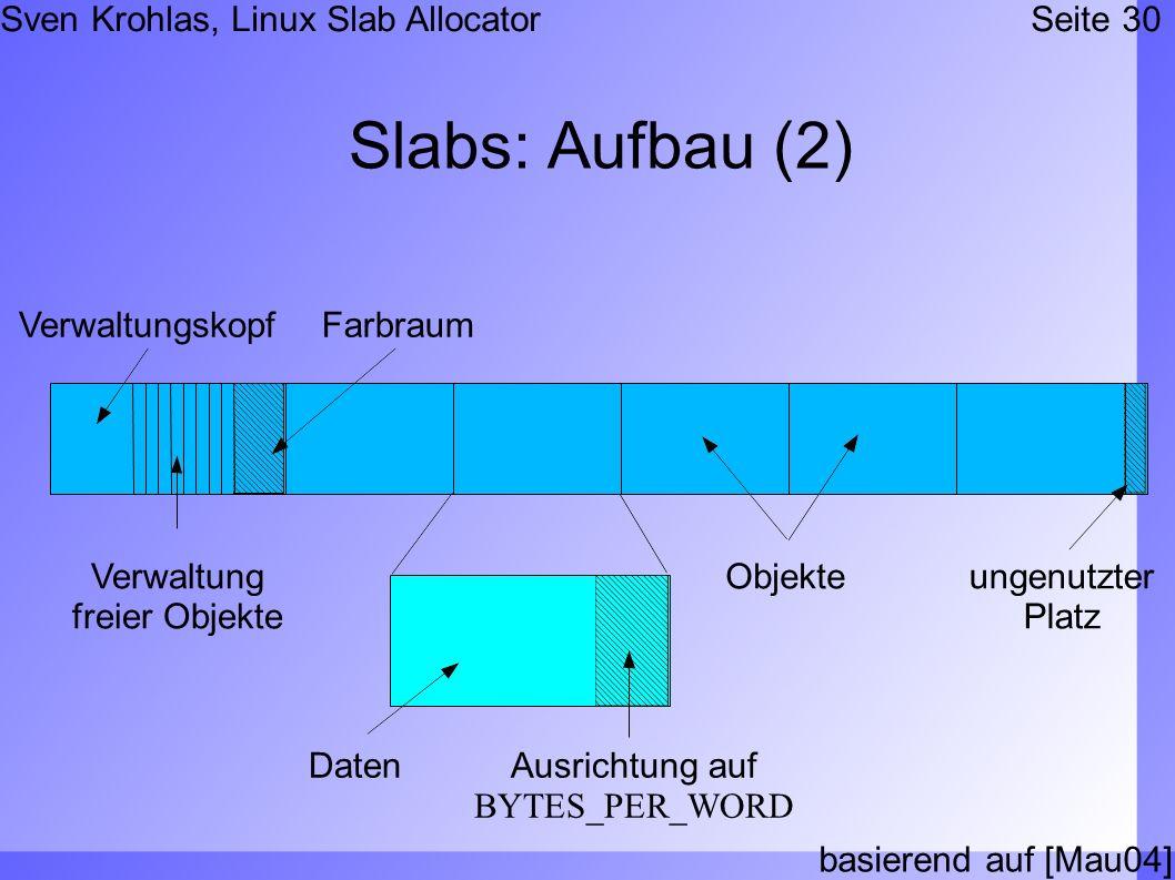 Sven Krohlas, Linux Slab AllocatorSeite 30 Slabs: Aufbau (2) basierend auf [Mau04] Verwaltungskopf Verwaltung freier Objekte Farbraum Objekteungenutzt