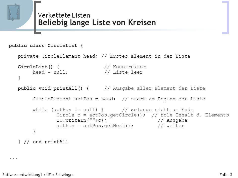 Abteilung für Telekooperation Folie-3 Softwareentwicklung I UE Schwinger Verkettete Listen Beliebig lange Liste von Kreisen public class CircleList {