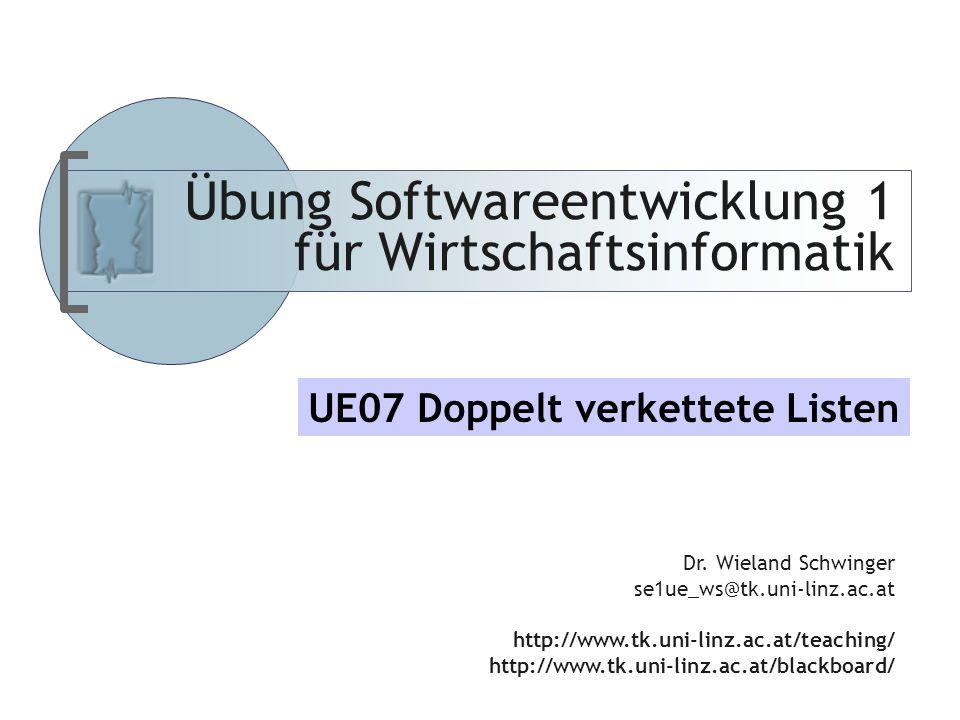 Abteilung für Telekooperation Übung Softwareentwicklung 1 für Wirtschaftsinformatik Dr.