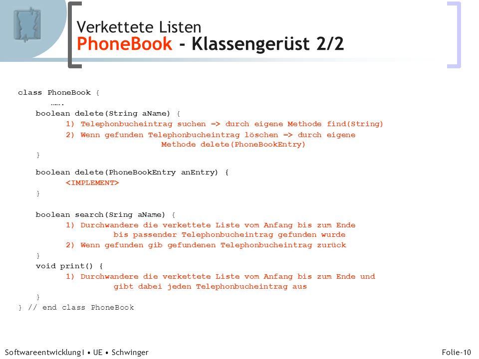 Abteilung für Telekooperation Folie-10 Softwareentwicklung I UE Schwinger class PhoneBook { …….