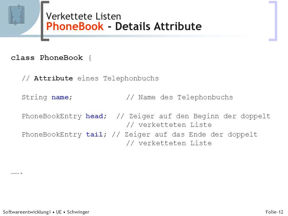 Abteilung für Telekooperation Folie-12 Softwareentwicklung I UE Schwinger class PhoneBook { // Attribute eines Telephonbuchs String name; // Name des Telephonbuchs PhoneBookEntry head; // Zeiger auf den Beginn der doppelt // verketteten Liste PhoneBookEntry tail; // Zeiger auf das Ende der doppelt // verketteten Liste …….