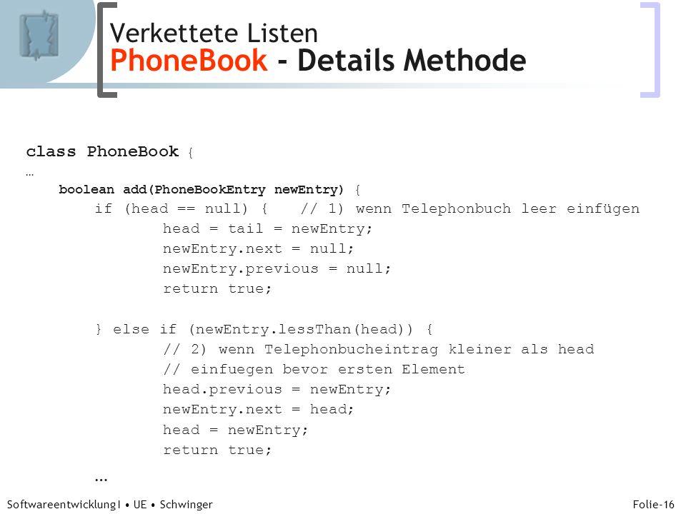 Abteilung für Telekooperation Folie-16 Softwareentwicklung I UE Schwinger class PhoneBook { … boolean add(PhoneBookEntry newEntry) { if (head == null)