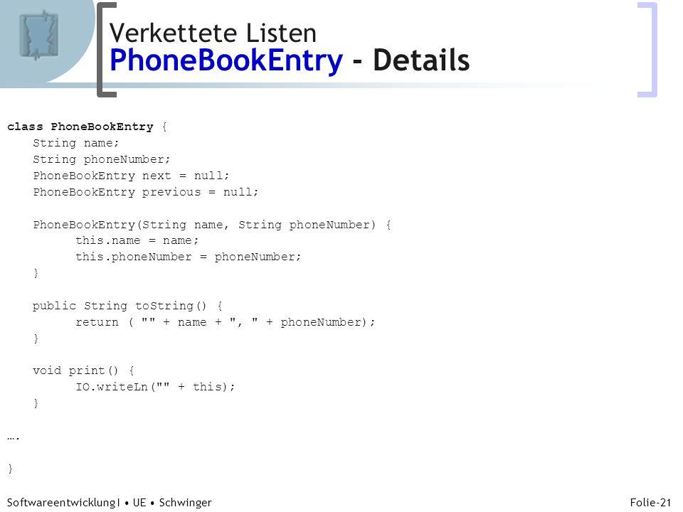 Abteilung für Telekooperation Folie-21 Softwareentwicklung I UE Schwinger class PhoneBookEntry { String name; String phoneNumber; PhoneBookEntry next
