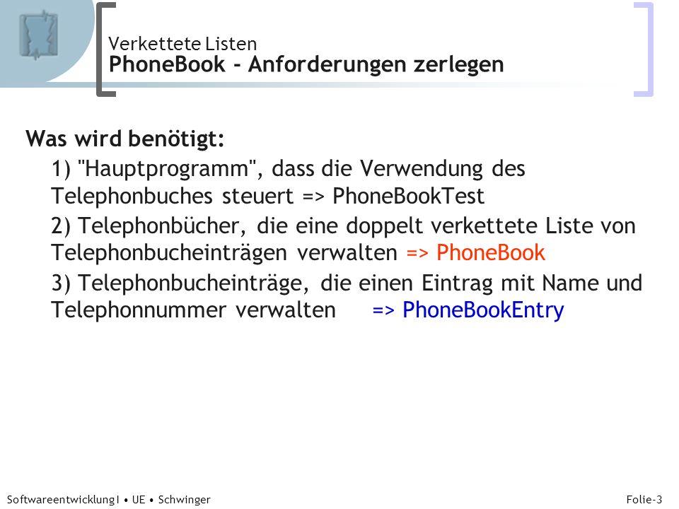 Abteilung für Telekooperation Folie-3 Softwareentwicklung I UE Schwinger Verkettete Listen PhoneBook - Anforderungen zerlegen Was wird benötigt: 1) Hauptprogramm , dass die Verwendung des Telephonbuches steuert => PhoneBookTest 2) Telephonbücher, die eine doppelt verkettete Liste von Telephonbucheinträgen verwalten => PhoneBook 3) Telephonbucheinträge, die einen Eintrag mit Name und Telephonnummer verwalten => PhoneBookEntry