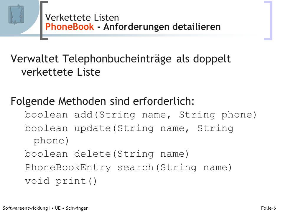 Abteilung für Telekooperation Folie-6 Softwareentwicklung I UE Schwinger Verwaltet Telephonbucheinträge als doppelt verkettete Liste Folgende Methoden