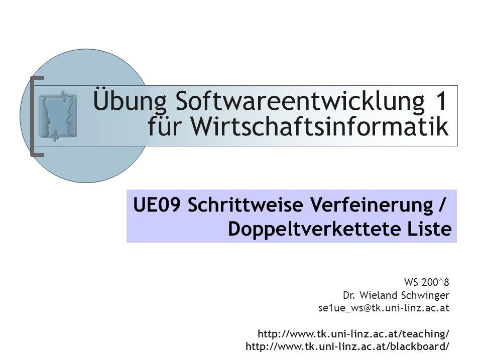 Abteilung für Telekooperation Übung Softwareentwicklung 1 für Wirtschaftsinformatik WS 200^8 Dr.