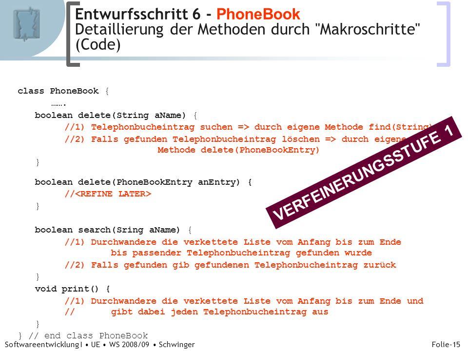 Abteilung für Telekooperation Folie-15 Softwareentwicklung I UE WS 2008/09 Schwinger class PhoneBook { …….