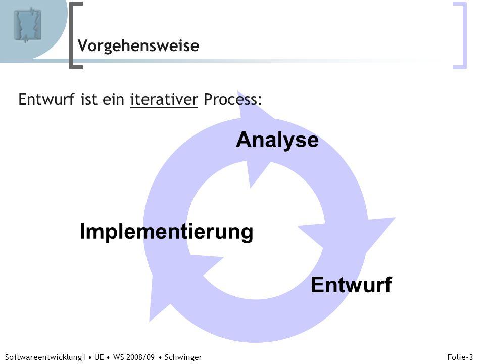 Abteilung für Telekooperation Folie-3 Softwareentwicklung I UE WS 2008/09 Schwinger Vorgehensweise Entwurf ist ein iterativer Process: Entwurf Analyse Implementierung