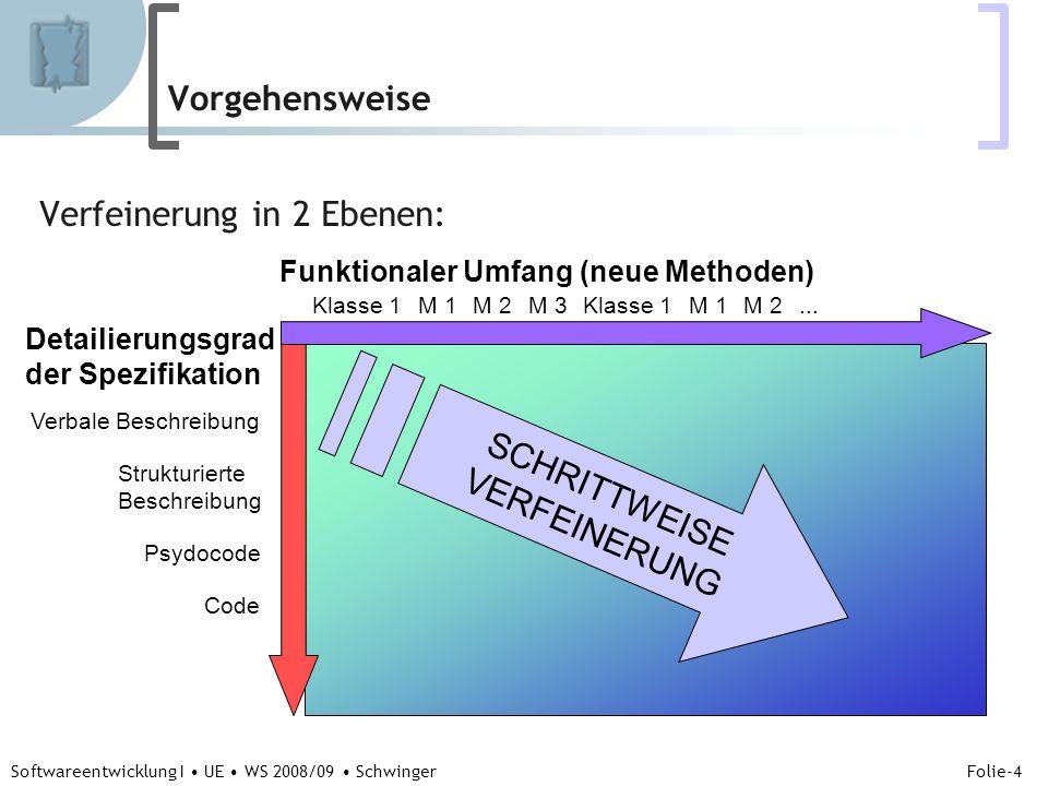 Abteilung für Telekooperation Folie-4 Softwareentwicklung I UE WS 2008/09 Schwinger Vorgehensweise Verfeinerung in 2 Ebenen: Funktionaler Umfang (neue Methoden) Detailierungsgrad der Spezifikation Klasse 1M 1M 2M 3Klasse 1M 1...M 2 Verbale Beschreibung Strukturierte Beschreibung Psydocode Code SCHRITTWEISE VERFEINERUNG