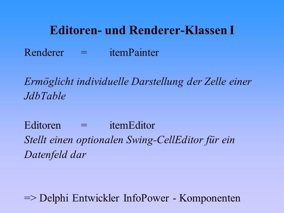 Editoren- und Renderer-Klassen I Renderer= itemPainter Ermöglicht individuelle Darstellung der Zelle einer JdbTable Editoren= itemEditor Stellt einen