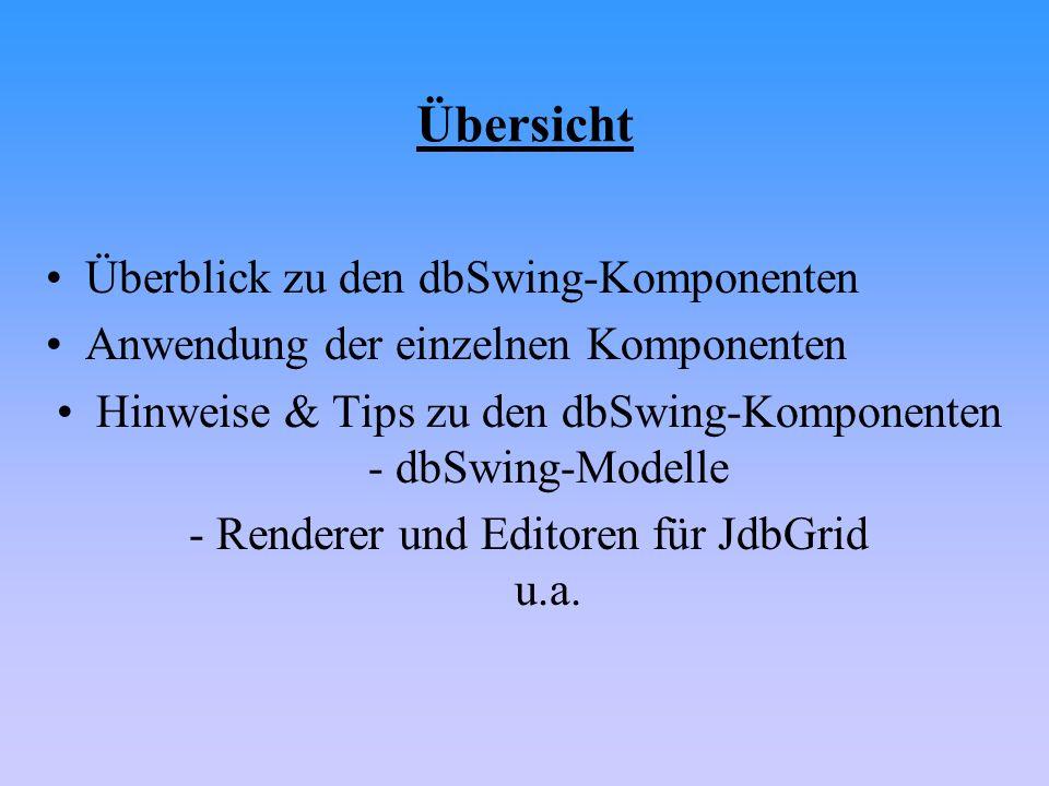 Übersicht Überblick zu den dbSwing-Komponenten Anwendung der einzelnen Komponenten Hinweise & Tips zu den dbSwing-Komponenten - dbSwing-Modelle - Rend