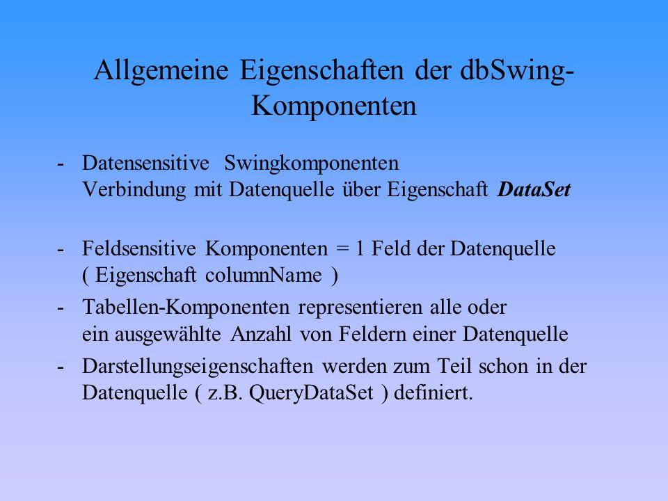 Allgemeine Eigenschaften der dbSwing- Komponenten -Datensensitive Swingkomponenten Verbindung mit Datenquelle über Eigenschaft DataSet -Feldsensitive