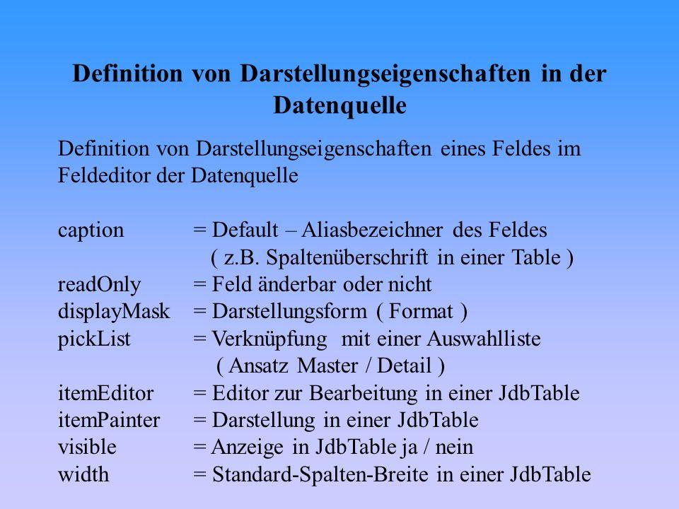 Übersicht dbSwing-Komponenten I -Navigation / Statusanzeigen JdbNavToolBar, JdbStatusLabel, More dbSwing -Textfelder und Labels ( feldsensitiv ) JdbTextField, JdbTextArea, JdbTextPane, JdbEditorPane -Optionsfelder ( feldsensitiv ) JdbCheckBox, JdbToggleButton, JdbRadioButton -Listen und Auswahlfelder ( feldsensitiv ) JdbSlider, JdbList, JdbComboBox -Tabellen und Hierarchische Listen ( feldsensitiv ) TableScrollPane, JdbTable, JdbTree