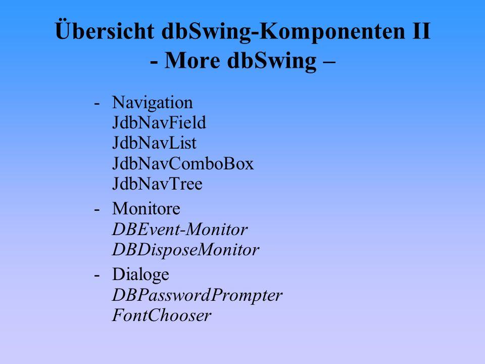 Komponente jdbStatusLabel -Anzeige des Aktionsstatus eines DataSets wenn dbSwing-Kom- ponenten den Focus haben Eigenschaft autoDetect = aktuelles DataSet wird automatisch ermittelt, Vorraussetzung : db-Swing Komponente hat den Focus Eigenschaft focusedDataSet = DataSet dessen Aktionsstatus angezeigt werden soll, wenn keine dbSwing- Komponente den Focus hat