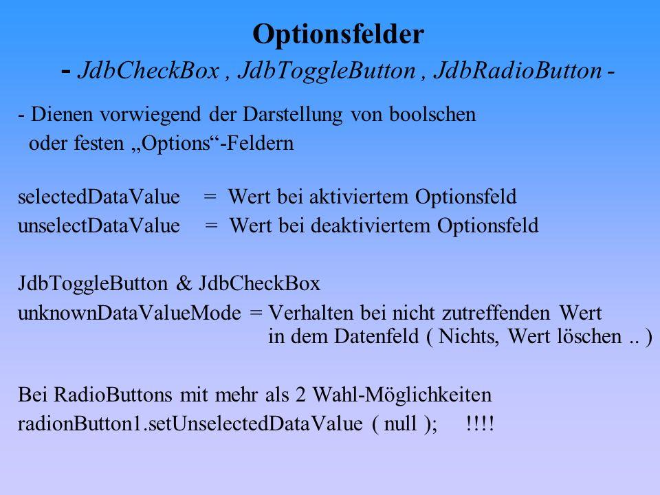 Auswahlfelder - JdbComboBox- Wichtige Methoden : addItem= hinzufügen eines Wertes getItemAt= Wert an bestimmter Position in der Liste getSelectedIndex= Rückgabe des Listenindex des aktuellen Eintrages getSelectedItem= Rückgabe des Wertes des aktuellen Eintrages setSelectedIndex= zu markierenden Eintrag bestimmen ( über den Listenindex) setSelectedValue= zu markierenden Eintrag bestimmen ( Wert )