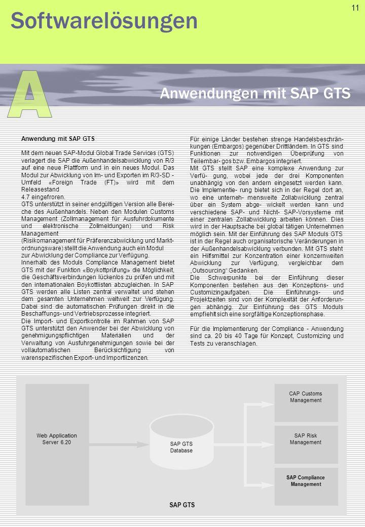 Anwendung mit SAP GTS Mit dem neuen SAP-Modul Global Trade Services (GTS) verlagert die SAP die Außenhandelsabwicklung von R/3 auf eine neue Plattform