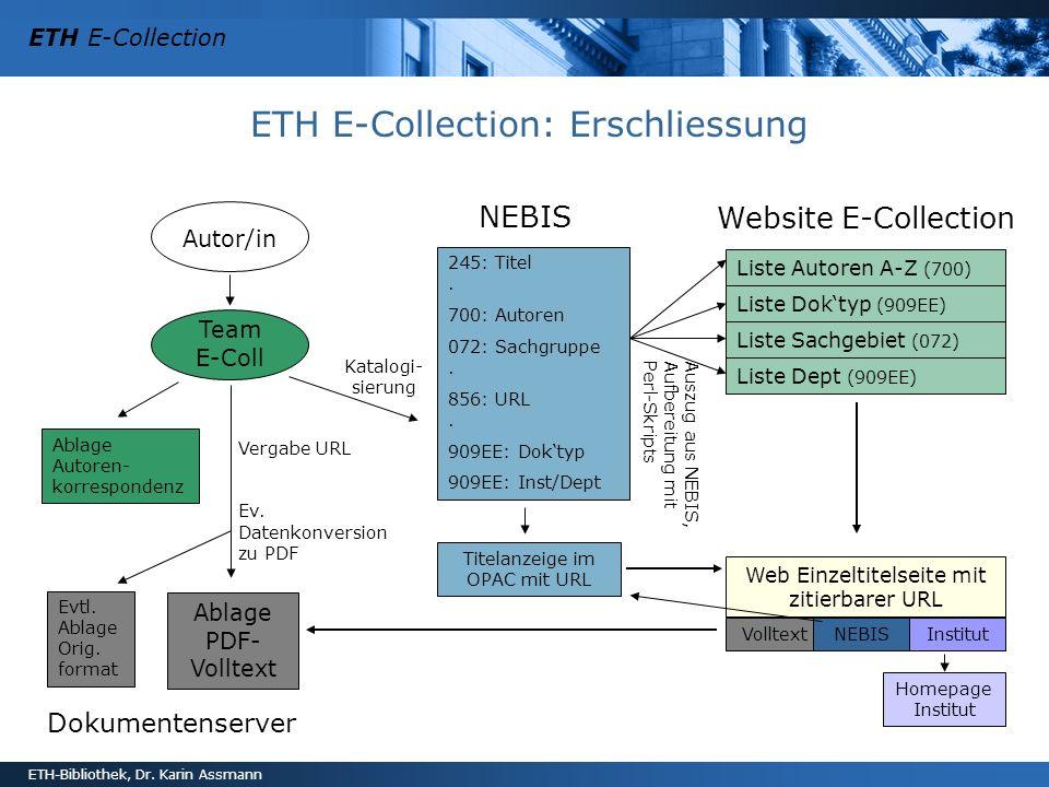 ETH E-Collection ETH-Bibliothek, Dr. Karin Assmann ETH E-Collection: Erschliessung Autor/in Team E-Coll Katalogi- sierung NEBIS 245: Titel. 700: Autor