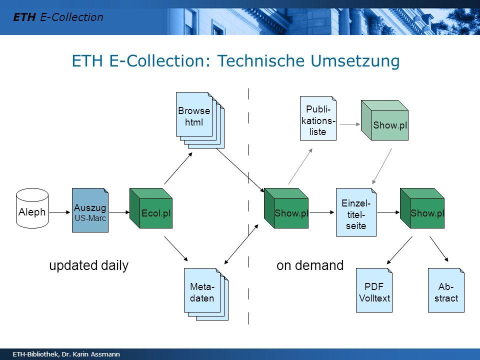 ETH E-Collection ETH-Bibliothek, Dr. Karin Assmann ETH E-Collection: Technische Umsetzung updated daily on demand Aleph Ecol.pl Auszug US-Marc Show.pl