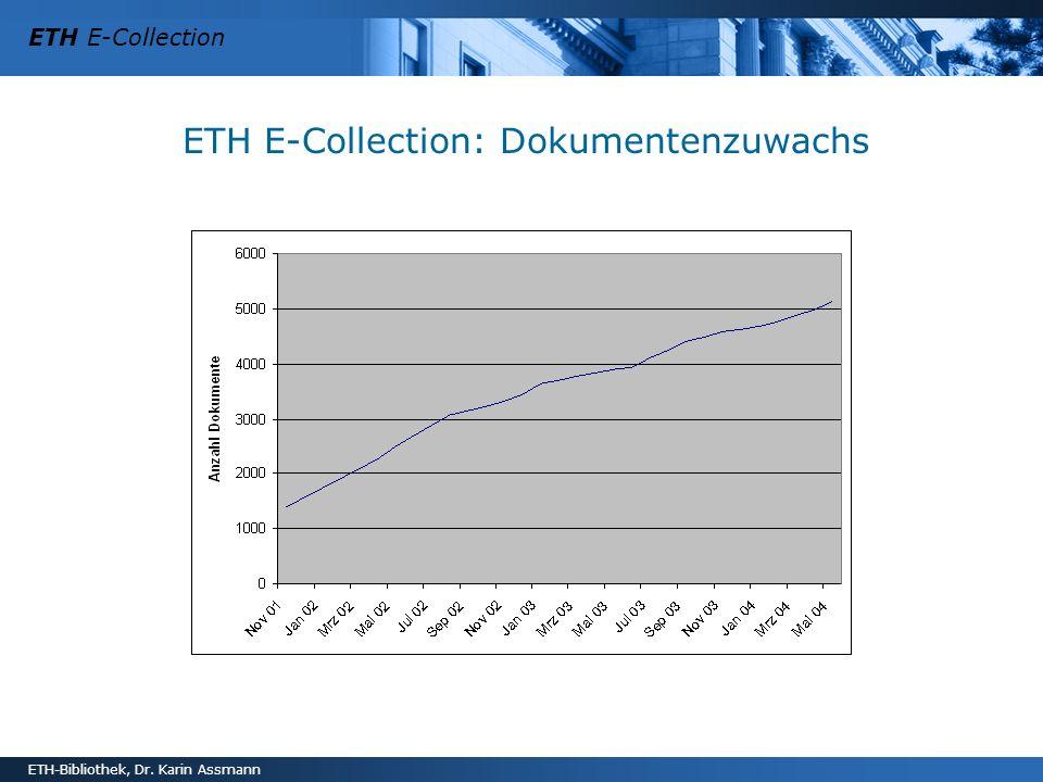 ETH E-Collection ETH-Bibliothek, Dr. Karin Assmann ETH E-Collection: Dokumentenzuwachs