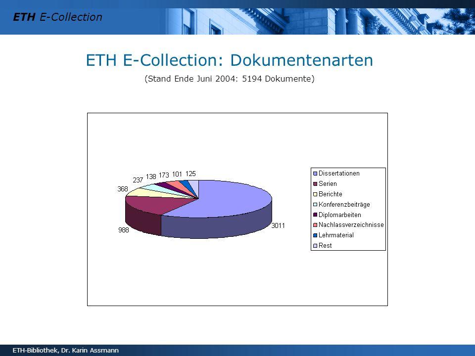 ETH E-Collection ETH-Bibliothek, Dr. Karin Assmann ETH E-Collection: Dokumentenarten (Stand Ende Juni 2004: 5194 Dokumente)