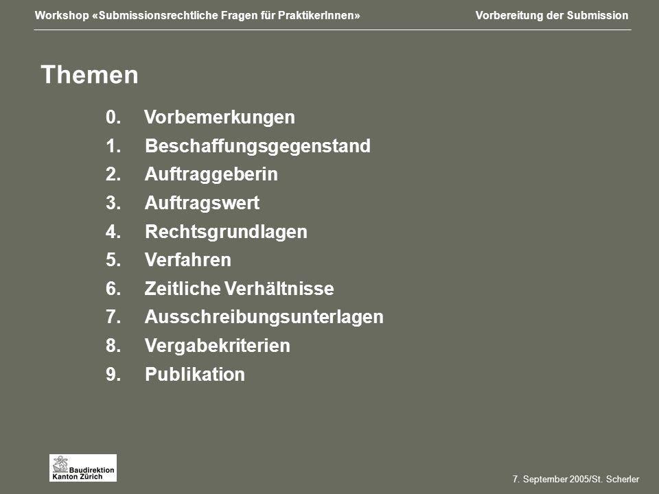 Workshop «Submissionsrechtliche Fragen für PraktikerInnen»Vorbereitung der Submission 7.