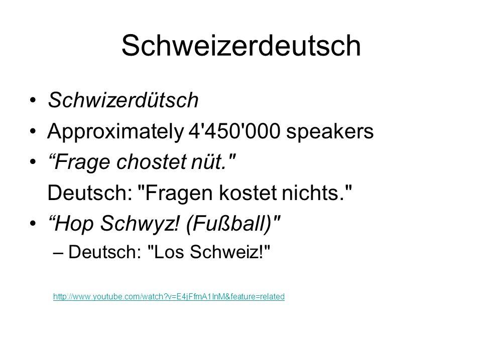 Schweizerdeutsch Schwizerdütsch Approximately 4'450'000 speakers Frage chostet nüt.
