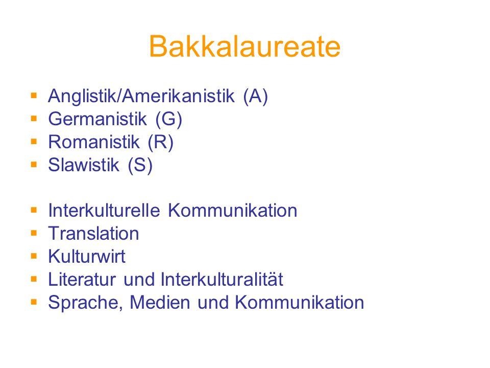 Bakkalaureate Anglistik/Amerikanistik (A) Germanistik (G) Romanistik (R) Slawistik (S) Interkulturelle Kommunikation Translation Kulturwirt Literatur und Interkulturalität Sprache, Medien und Kommunikation