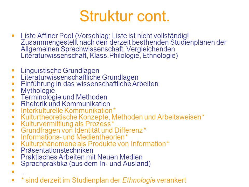 Struktur cont. Liste Affiner Pool (Vorschlag; Liste ist nicht vollständig.