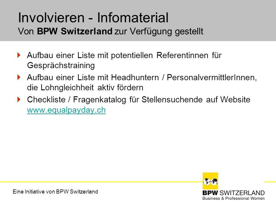Involvieren - Infomaterial Von BPW Switzerland zur Verfügung gestellt Aufbau einer Liste mit potentiellen Referentinnen für Gesprächstraining Aufbau e
