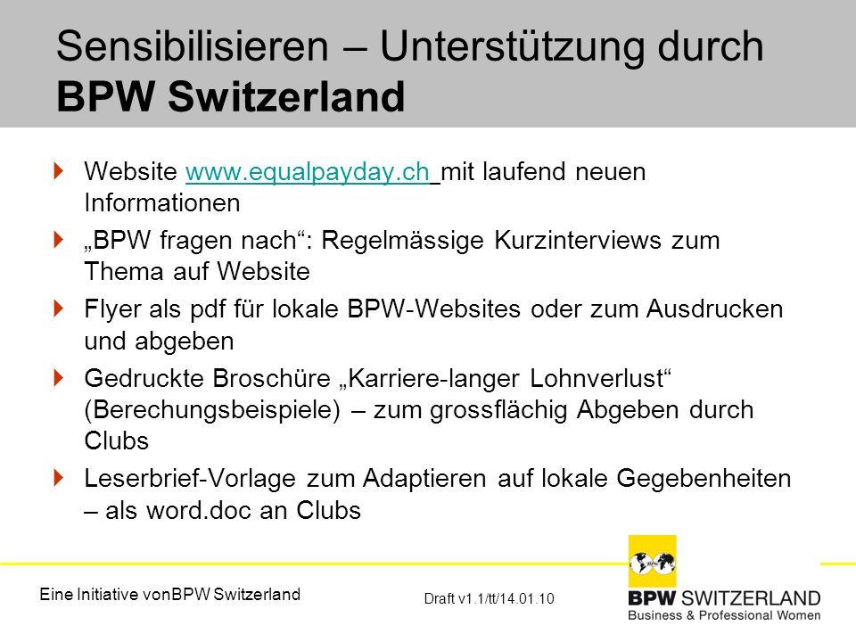 Sensibilisieren – Unterstützung durch BPW Switzerland Website www.equalpayday.ch mit laufend neuen Informationenwww.equalpayday.ch BPW fragen nach: Re