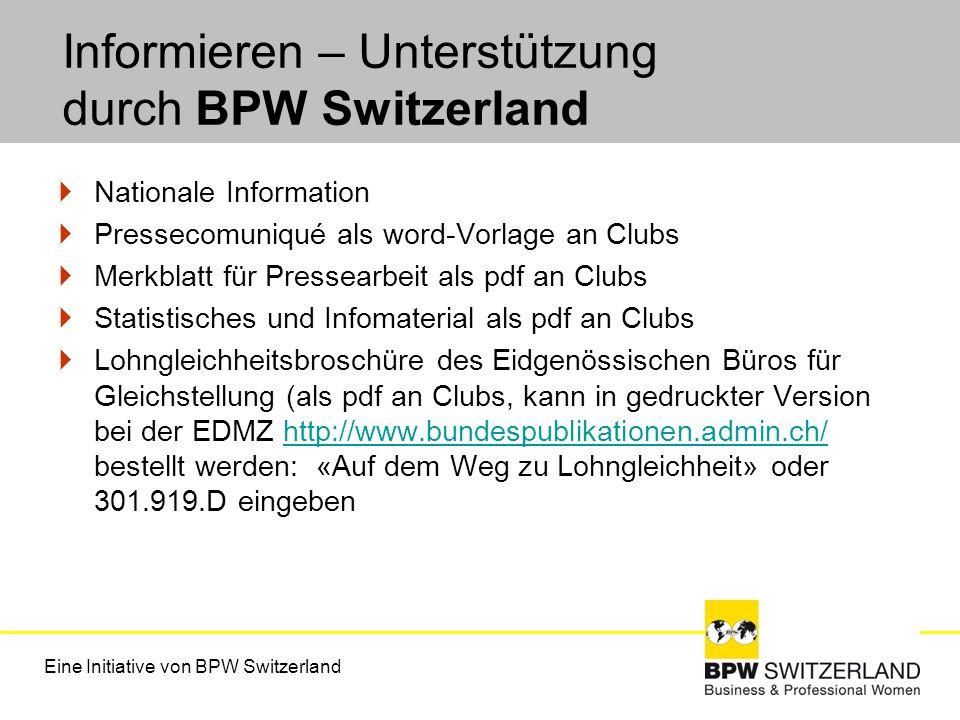 Informieren – Unterstützung durch BPW Switzerland Nationale Information Pressecomuniqué als word-Vorlage an Clubs Merkblatt für Pressearbeit als pdf a