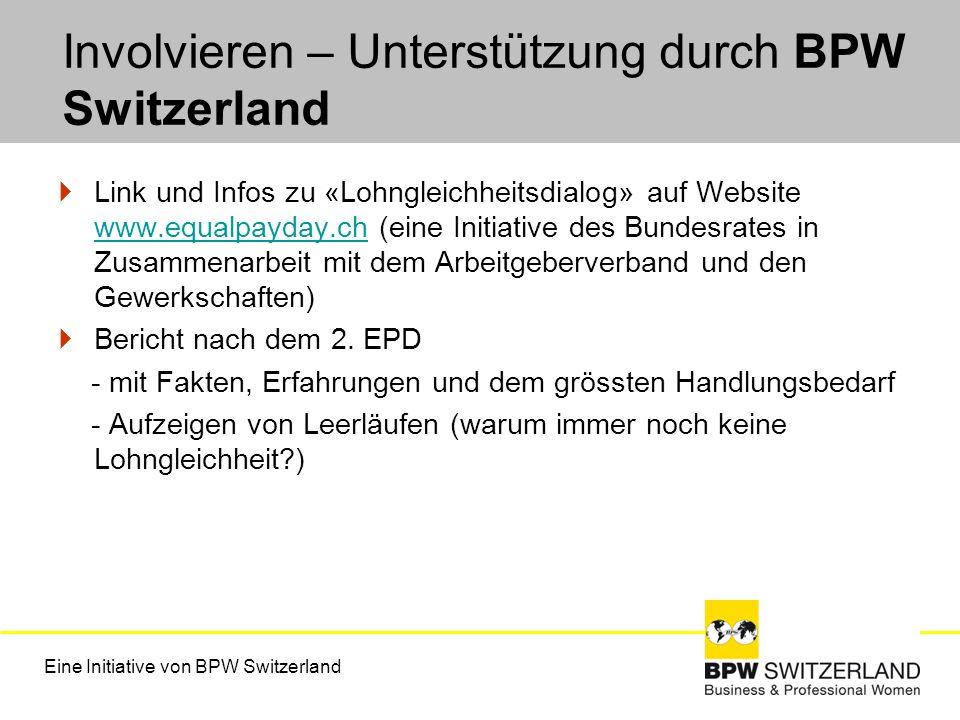 Involvieren – Unterstützung durch BPW Switzerland Link und Infos zu «Lohngleichheitsdialog» auf Website www.equalpayday.ch (eine Initiative des Bundes
