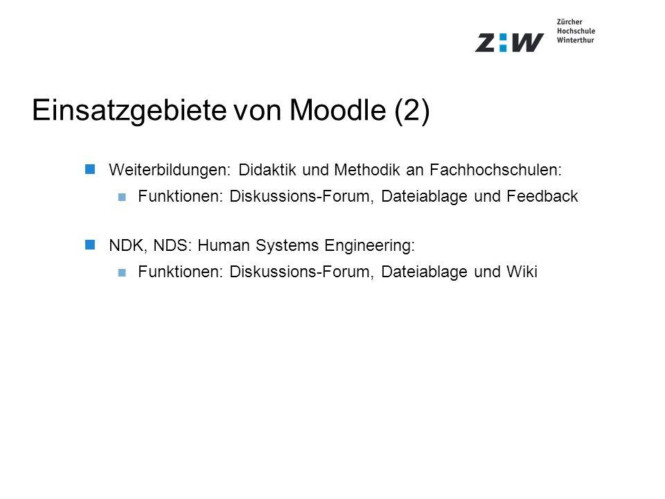 Einsatzgebiete von Moodle (2) Weiterbildungen: Didaktik und Methodik an Fachhochschulen: Funktionen: Diskussions-Forum, Dateiablage und Feedback NDK,