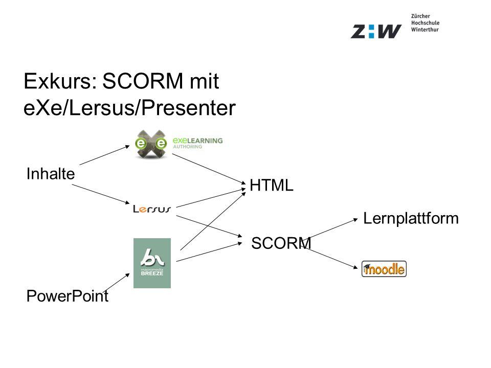 Exkurs: SCORM mit eXe/Lersus/Presenter Inhalte SCORM HTML Lernplattform PowerPoint