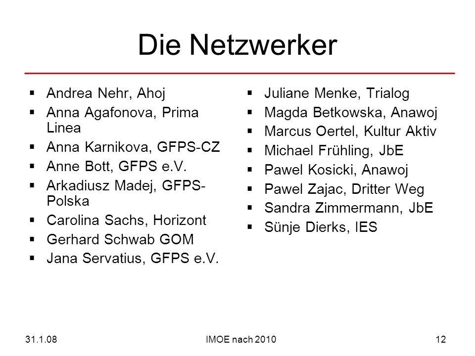 IMOE nach 201031.1.0812 Die Netzwerker Andrea Nehr, Ahoj Anna Agafonova, Prima Linea Anna Karnikova, GFPS-CZ Anne Bott, GFPS e.V.
